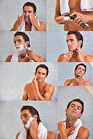 Photo of attractive man shaving his beard in the bathroom