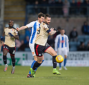 18th November 2017, Dens Park, Dundee, Scotland; Scottish Premier League football, Dundee versus Kilmarnock; Dundee's Marcus Haber battles for the ball with Kilmarnock's Gordon Greer