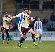 18th November 2017, Dens Park, Dundee, Scotland; Scottish Premier League football, Dundee versus Kilmarnock; Dundee's Marcus Haber battles for the ball with Kilmarnock's Gordon Greer