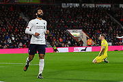 Goal - Mohamed Salah (11) of Liverpool celebrates after he scores a goal beating Aaron Ramsdale (12) of AFC Bournemouth to give a 0-3 lead during the Premier League match between Bournemouth and Liverpool at the Vitality Stadium, Bournemouth, England on 7 December 2019.