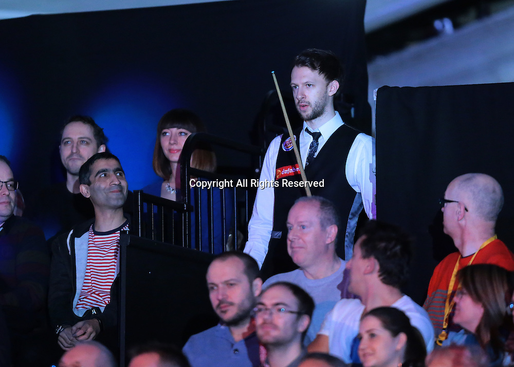 16.01.2016.  Alexandra Palace, London, England. Masters Snooker. Semi Finals. Judd Trump enters the arena for the start of his Semi Final against Barry Hawkins