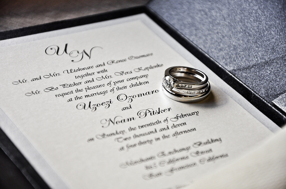 Uzoezi & Noam's rings and invitation, San Francisco