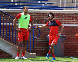 ANN ARBOR, USA - Friday, July 27, 2018: Liverpool's Virgil van Dijk and Mohamed Salah during a training session ahead of the preseason International Champions Cup match between Manchester United FC and Liverpool FC at the Michigan Stadium. (Pic by David Rawcliffe/Propaganda)