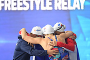 Adeline Martin, Margaux Fabre, Assia Touati and Beryl Gastaldello for France compete on Women 4X100 m Relay during the Swimming European Championships Glasgow 2018, at Tollcross International Swimming Centre, in Glasgow, Great Britain, Day 2, on August 3, 2018 - Photo Stephane Kempinaire / KMSP / ProSportsImages / DPPI