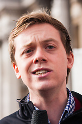 London, February 15th 2015. Londoners demonstrate in solidarity with Greeks in their fight against the EU's insistance that they maintain their programme of austerity. PiCTURED: Author and journalist Owen Jones addresses the crowd.
