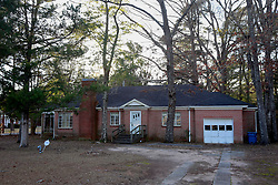 05 February 2015. Monroeville, Alabama.<br /> On the trail of Harper Lee's 'To Kill a Mocking Bird.'<br /> The house on West Avenue where Author Harper Lee used to reside with her sister before moving to an assisted living facility on the outskirts of town. <br /> Photo; Charlie Varley/varleypix.com