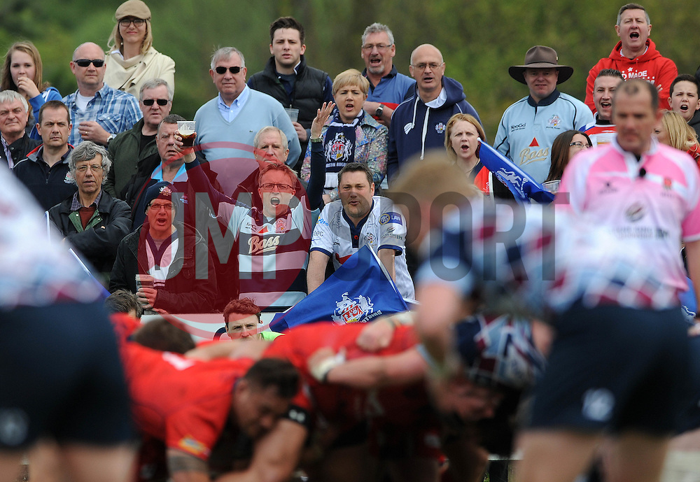 A bristol Rugby fan cheers - Photo mandatory by-line: Dougie Allward/JMP - Mobile: 07966 386802 - 10/05/2015 - SPORT - Rugby - Sheffield - Abbeydale Dale Sports - Rotherham Titans v Bristol Rugby - Greene King IPA Championship