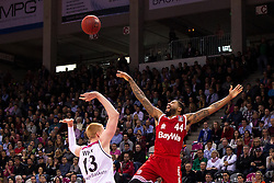 28.03.2016, Telekom Dome, Bonn, GER, Beko Basketball BL, Telekom Baskets Bonn vs FC Bayern Muenchen, 23. Runde, im Bild Bryce Taylor (FC Bayern Muenchen #44) gegen Aarib White (Telekom Baskets Bonn #13) // during the Beko Basketball Bundes league 23th round match between Telekom Baskets Bonn and FC Bayern Munich at the Telekom Dome in Bonn, Germany on 2016/03/28. EXPA Pictures © 2016, PhotoCredit: EXPA/ Eibner-Pressefoto/ Schüler<br /> <br /> *****ATTENTION - OUT of GER*****