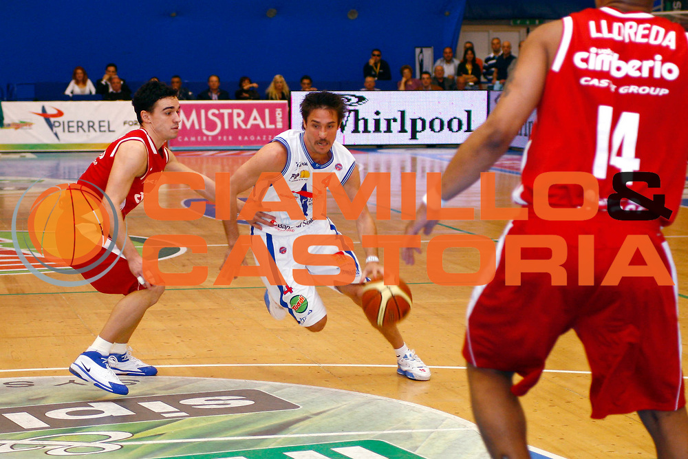 DESCRIZIONE : Capo Orlando Lega A1 2007-08 Pierrel Capo Orlando Cimberio Varese<br /> GIOCATORE : Gianmarco Pozzecco<br /> SQUADRA : Pierrel Capo Orlando<br /> EVENTO : Campionato Lega A1 2007-2008 <br /> GARA : Pierrel Capo Orlando Cimberio Varese<br /> DATA : 20/04/2008 <br /> CATEGORIA : Palleggio Penetrazione<br /> SPORT : Pallacanestro <br /> AUTORE : Agenzia Ciamillo-Castoria/J.Pappalardo