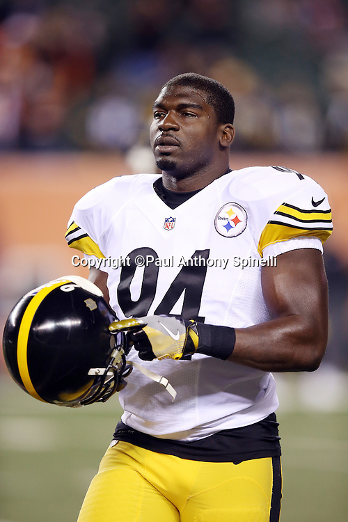 Pittsburgh Steelers inside linebacker Lawrence Timmons (94) looks on during the NFL AFC Wild Card playoff football game against the Cincinnati Bengals on Saturday, Jan. 9, 2016 in Cincinnati. The Steelers won the game 18-16. (©Paul Anthony Spinelli)