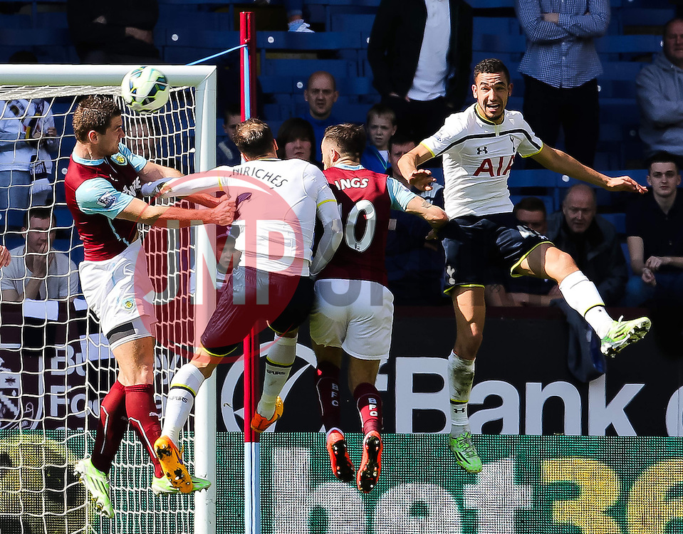 Burnley's Sam Vokes wins a header - Photo mandatory by-line: Matt McNulty/JMP - Mobile: 07966 386802 - 05/04/2015 - SPORT - Football - Burnley - Turf Moor - Burnley v Tottenham Hotspur - Barclays Premier League