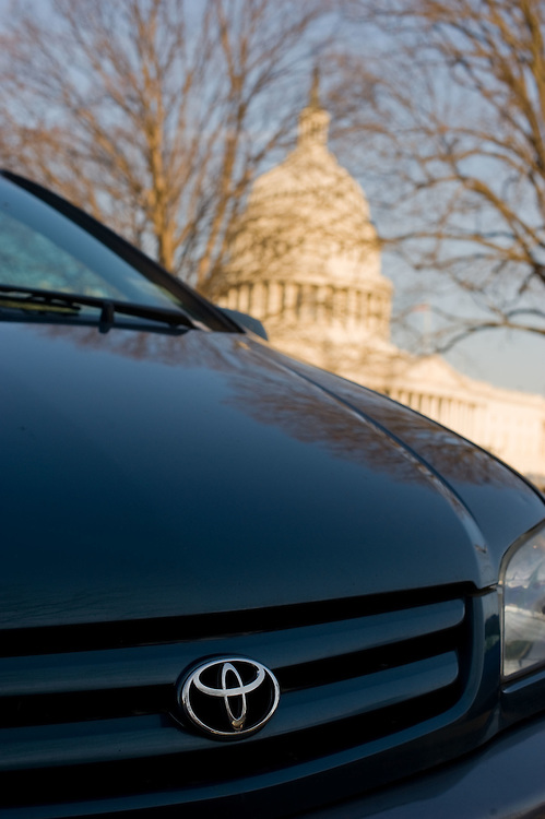 A Toyota vehicle is parked outside the U.S. Capitol Building on Wednesday, Feb. 24, 2010 in Washington.  Toyota President and CEO Akio Toyoda estifies before a House Government Reform Committee hearing on the recent recalls on Toyota vehicles today.