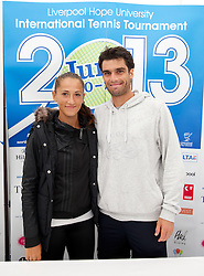 LIVERPOOL, ENGLAND - Thursday, June 20, 2013: Alexandra Cadantu and Pablo Andujar during a press conference on Day One at the Liverpool Hope University International Tennis Tournament at Calderstones Park. (Pic by David Rawcliffe/Propaganda)
