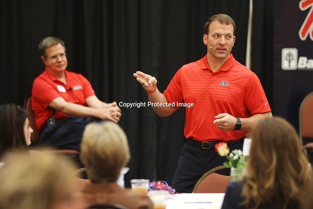 Ole Miss Athletic Director Ross Bjork speaks to the alumni gathered Wednesday evening during the Rebel Roadshow at the BancorpSouth Conference Center.