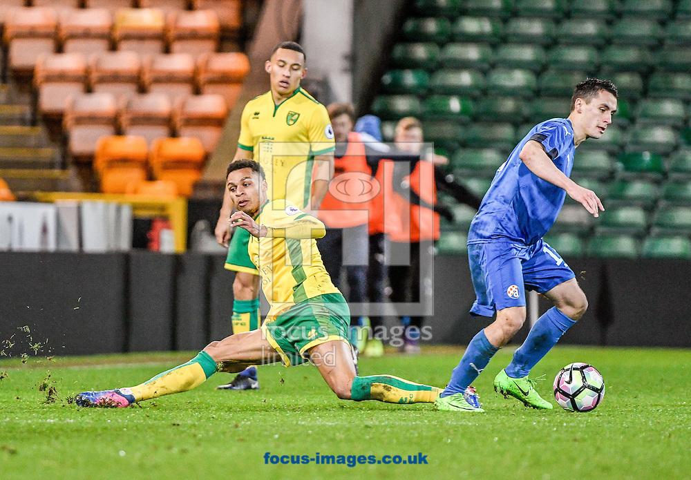 Joshua Murphy of Norwich City U23 versus Dinamo Zagreb U23 during the Premier League International Cup Quarter-Final match at Carrow Road, Norwich<br /> Picture by Matthew Usher/Focus Images Ltd +44 7902 242054<br /> 27/02/2017