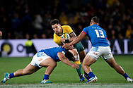 SYDNEY, AUSTRALIA - SEPTEMBER 07: Matt To'omua of the Wallabies gets tackled during the international rugby test match between the Australian Wallabies and Manu Samoa on September 07, 2019 at Bankwest Stadium in Sydney, Australia. (Photo by Speed Media/Icon Sportswire)