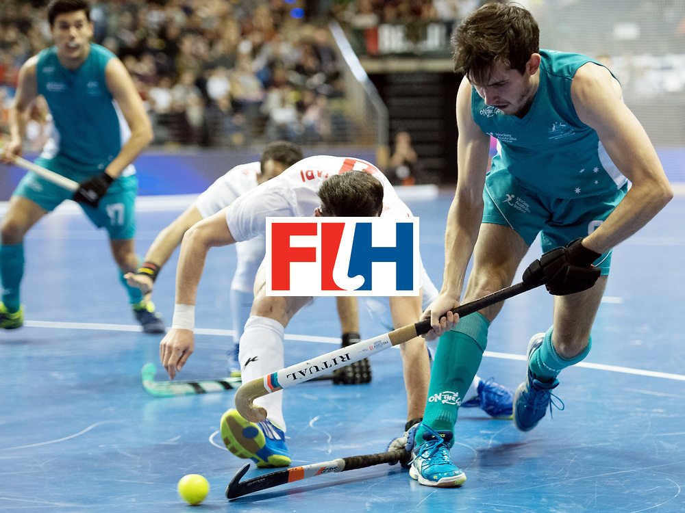 BERLIN - Indoor Hockey World Cup<br /> Bronze: Iran - Australia<br /> foto: Mohammad Asnaashari and James Knee <br /> WORLDSPORTPICS COPYRIGHT FRANK UIJLENBROEK