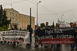 People demonstrate against a draft labour legislation in central Athens on September 24, 2019 during a 24-hours nationwide strike. in Athens, Greece, on 24 September 2019 <br /> <br /> <br /> <br /> Dimitris Lampropoulos    EEm date