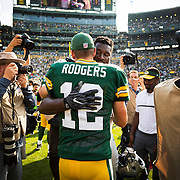 Aaron Rodgers during an NFL football game in Green Bay, Wis., Sunday, Sept. 25, 2016. (Photographer Matt Ludtke/AP Images for Head & Shoulders)
