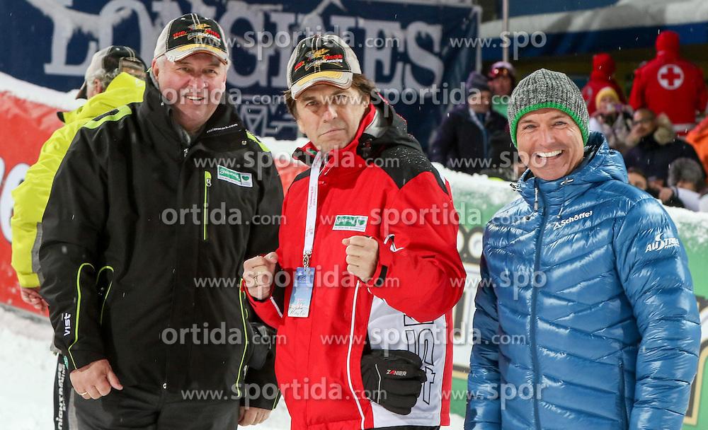 27.01.2015, Planai, Schladming, AUT, FIS Weltcup Ski Alpin, Nightrace, Slalom, Herren, 2. Durchgang, im Bild v.l. Hermann Schuetzenhofer, Landeshauptmann-Stellvertreter Steiermark, Franz Voves, Landeshauptmann Steiermark, Gerald Klug, Verteidigungsminister Oesterreich // during 2nd run of mens slalom of the Schladming FIS Ski Alpine World Cup at the Planai course in Schladming, Austria on 2015/01/27. EXPA Pictures © 2015, PhotoCredit: EXPA/ Martin Huber