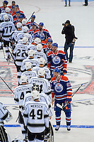 KELOWNA, CANADA - OCTOBER 2: The Edmonton Oilers shake hands with the Los Angeles Kings on October 2, 2016 at Kal Tire Place in Vernon, British Columbia, Canada.  (Photo by Marissa Baecker/Shoot the Breeze)  *** Local Caption ***