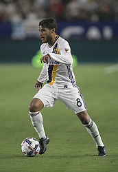 August 12, 2017 - Carson, California, U.S - Jonathan dos Santos #8 of the Los Angeles Galaxy with the ball during their MLS game with the New York FC on Saturday August 12, 2017 at StubHub Center in Carson, California. LA Galaxy loses to New York FC, 2-0. (Credit Image: © Prensa Internacional via ZUMA Wire)