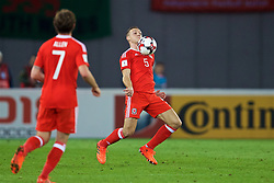 TBILSI, GEORGIA - Friday, October 6, 2017: Wales' James Chester during the 2018 FIFA World Cup Qualifying Group D match between Georgia and Wales at the Boris Paichadze Dinamo Arena. (Pic by David Rawcliffe/Propaganda)
