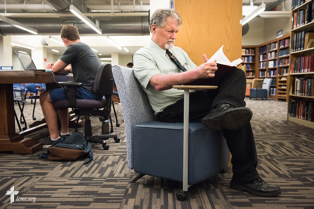 Dr. E. Christian Kopff, associate professor of Classics at the University of Colorado, Boulder, researches in Norlin Library on Wednesday, July 22, 2015, in Boulder, Colo. LCMS Communications/Erik M. Lunsford