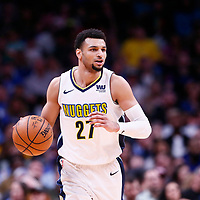 01 April 2018: Denver Nuggets guard Jamal Murray (27) is seen during the Denver Nuggets 128-125 victory over the Milwaukee Bucks, at the Pepsi Center, Denver, Colorado, USA.