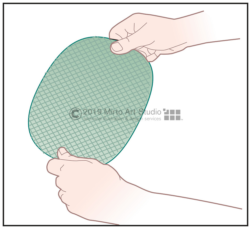Vector artwork of hands with fiberglass cloth,  fiberglass repair