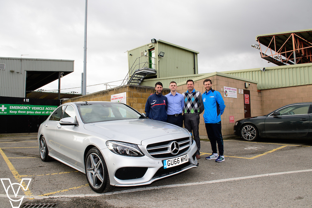 Lincoln City commercial sponsorship deal for a Mercedes car used by the club's manager Danny Cowley.  Pictured, from left, Lincoln City manager Danny Cowley, Jake Matthews (Just Vehicle Solutions), Mike Wells (Argentum Finance) and Lincoln City's assistant manager Nicky Cowley.<br /> <br /> Picture: Chris Vaughan Photography<br /> Date: March 6, 2017