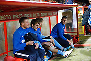 Players sitting in the dugout before the EFL Sky Bet League 2 match between Stevenage and Coventry City at the Lamex Stadium, Stevenage, England on 21 November 2017. Photo by Matt Bristow.