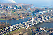 Nederland, Noord-Holland, Muiden, 11-12-2013; Amsterdam-Rijnkanaal met Brug Muiden en autosnelweg A1. PEN-eiland (Diemer Vijfhoek) met centrale Diemen.<br /> Amsterdam-Rine chanel with Muiden bridge and motorway A1.<br /> luchtfoto (toeslag op standaard tarieven);<br /> aerial photo (additional fee required);<br /> copyright foto/photo Siebe Swart.
