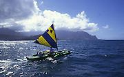 Outrigger Sailing Canoe, Hanalei Bay, Kauai, Hawaii<br />