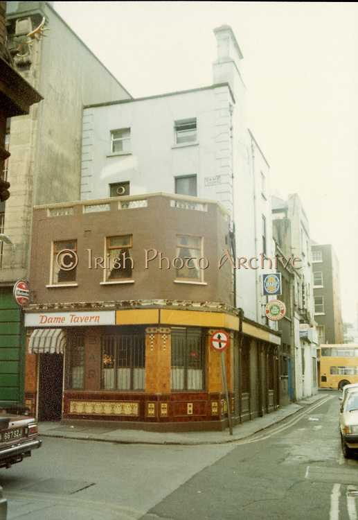 Old Dublin Amature Photos, April 1983 WITH, Coodys Shop, Dame ST, Abbey Life Assurance Building, Commercial Buildings, Dame Court, Stags Head Pub, Dame Tavern, Markets Drury St,  Diggers Lane, Stephens st,