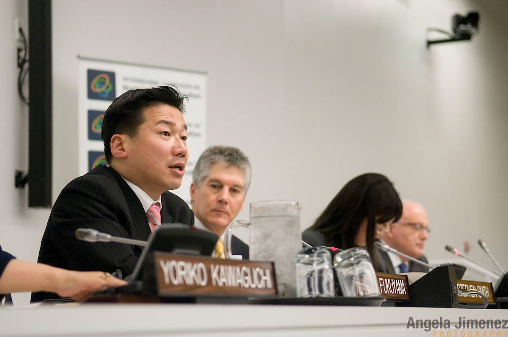 Representatives of the Australian and Japanese governments, including Australian Foreign Minister Stephen Smith, attend a panel event at the United Nations in New York City on May 3, 2010, during the 2010 Review Conference of the Parties to the Treaty on the Non-Proliferation of Nuclear Weapons (NPT). The event featured conversation about a joint report by Gareth Evans of Australia and Yoriko Kawaguchi of Japan. ..Photo by Angela Jimenez for the Australian Mission to the United Nations.www.angelajimenezphotography.com