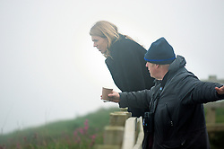 © Licensed to London News Pictures. 18/05/2019. Bempton, UK. Conservative MP BORIS JOHNSON and his partner CARRIE SYMONDS are seen bird watching at Bempton Cliffs nature reserve in the East Riding of Yorkshire. The former Foreign Secretary announced earlier this week that he will stand to be the next leader of the Conservative party after Theresa May steps down.  Photo credit: Andrew Rawlins/LNP