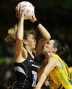 New Zealand Silver Ferns Goal Shoot Irene van Dyk clashes with Australian captain Liz Ellis. Australia defeated New Zealand 42-38 to win the World Netball Championships. New Zealand v Australia, Netball World Championships Final. Trusts Stadium, Auckland, New Zealand. Saturday 17 November 2007. Photo: Andrew Cornaga/PHOTOSPORT