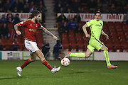 Nottingham Forest midfielder Henri Lansbury (10)  misses  during the Sky Bet Championship match between Nottingham Forest and Brighton and Hove Albion at the City Ground, Nottingham, England on 11 April 2016. Photo by Simon Davies.