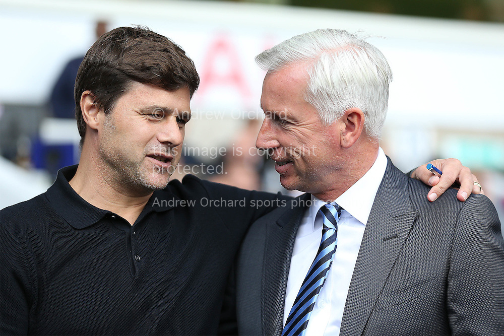 Mauricio Pochettino, the Tottenham Hotspur manager chats to Alan Pardew, the Crystal Palace manager before k/o. Premier league match, Tottenham Hotspur v Crystal Palace at White Hart Lane in London on Saturday 20th August 2016.<br /> pic by John Patrick Fletcher, Andrew Orchard sports photography.