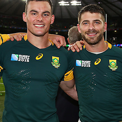 LONDON, ENGLAND - OCTOBER 17: Jesse Kriel with Willie le Roux of South Africa during the Rugby World Cup Quarter Final match between South Africa and Wales at Twickenham Stadium on October 17, 2015 in London, England. (Photo by Steve Haag/Gallo Images)