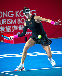 October 12, 2018 - Hong Kong, Hong Kong SAR, China - Garbiñe Muguruza (pictured) of Spain beats Luksika Kumkhum of Thailand to proceed to the semi-finals of the Hong Kong Tennis Open in Victoria Park Hong Kong. Muguruza took 2 sets 6-2,7-5 to win in 1 hour 45 mins. (Credit Image: © Jayne Russell/ZUMA Wire)
