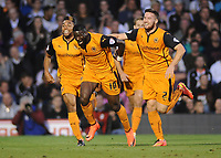 Football - 2014 / 2015 Sky Bet Championship - Fulham vs. Wolverhampton Wanderers<br /> <br /> Wolves Bakary Sako celebrates his goal with Matt Doherty at Craven Cottage.<br /> <br /> COLORSPORT/ANDREW COWIE