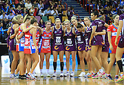 QUEENSLAND FIREBIRDS (QUEENSLAND FIREBIRDS) - Photo: SMP IMAGES /Action from the ANZ Netball Championship Conference Finals clash between the Queensland Firebirds v NSW Swifts, played at the Brisbane Convention & Exhibition Centre Broadbeach, Queensland.