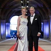 Crown Prince Philippe of Belgium, right, and his wife Princess Mathilde, left, arrive for a dinner with members of the royal family and guests, at the invitation of Queen Beatrix, at the Rijksmuseum in Amsterdam, The Netherlands, on Monday night, April 29, 2013. HANDOUT/ROBIN UTRECHT