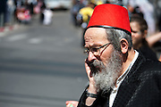 Orthodox man in Purim costume Photographed in Bnei Brak, Israel