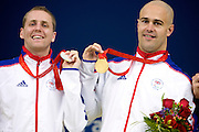 Dave Roberts  and Matt Walker of Great Britain in The National Aquatics Centre winning gold and Silver in the men's 50 metre freestyle S7 at the Paralympic games, Beijing, China. 14th September 2008