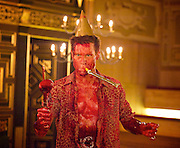 'Tis Pity She's a Whore<br /> by John Ford<br /> at the Sam Wannamaker Playhouse, Globe Theatre, London, Great Britain <br /> press photocall<br /> 25th October 2014 <br /> directed by Michael Longhurst <br /> <br /> <br /> <br /> Max Bennett as Giovanni <br /> <br /> <br /> <br /> <br /> Photograph by Elliott Franks <br /> Image licensed to Elliott Franks Photography Services