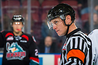 KELOWNA, CANADA - OCTOBER 10:  Referee Ward Pateman stands on the ice at the Kelowna Rockets on October 10, 2018 at Prospera Place in Kelowna, British Columbia, Canada.  (Photo by Marissa Baecker/Shoot the Breeze)  *** Local Caption ***