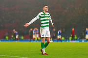 Ryan Christie of Celtic FC celebrates in front of his fans during the Betfred Scottish League Cup Final match between Rangers and Celtic at Hampden Park, Glasgow, United Kingdom on 8 December 2019.